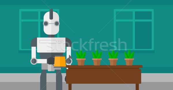 Robot governante fiori home Foto d'archivio © RAStudio