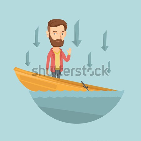 Zakenman permanente zinken boot vragen helpen Stockfoto © RAStudio