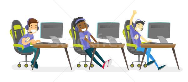 Equipe jogar jogo vídeo adolescente torneio Foto stock © RAStudio