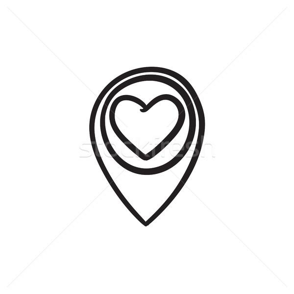 Foto stock: Mapa · coração · esboço · ícone · vetor · isolado