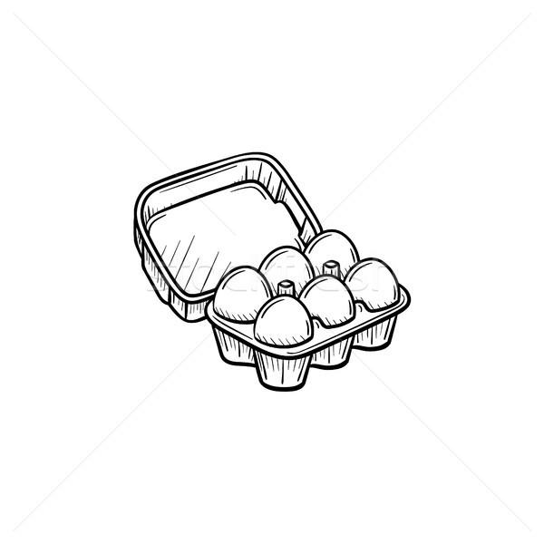 卵 カートン パック 手描き スケッチ アイコン ストックフォト © RAStudio