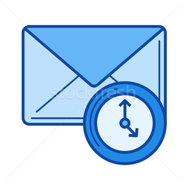 Stock fotó: Email · csekk · vonal · ikon · vektor · izolált