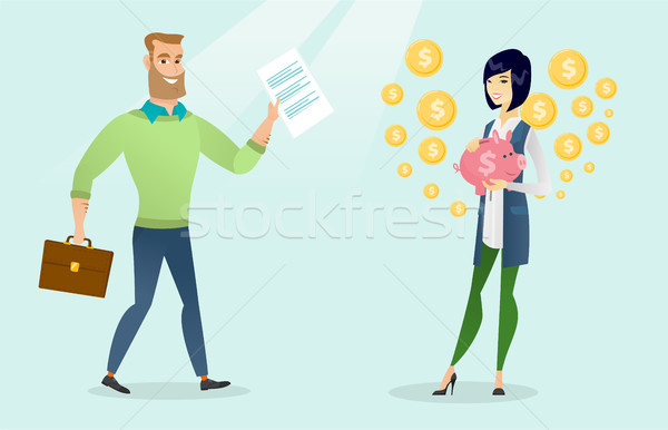 Business people with mobile phone and piggy bank. Stock photo © RAStudio