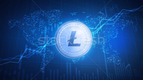 Litecoin coin on hud background with bull stock chart. Stock photo © RAStudio