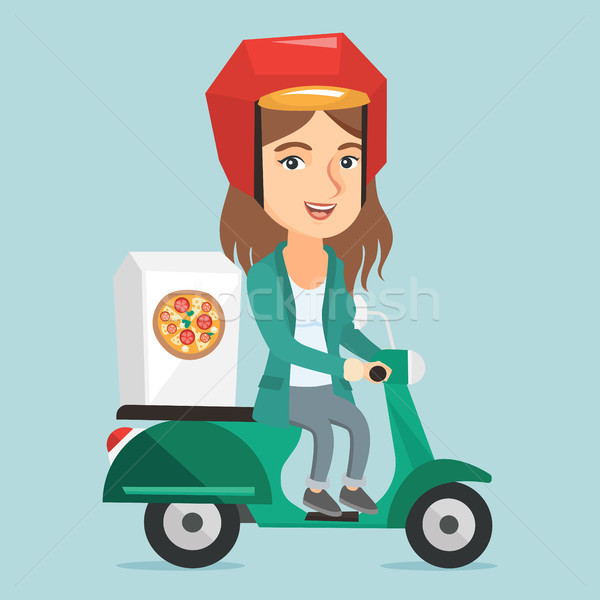 Caucasian woman delivering pizza on scooter. Stock photo © RAStudio
