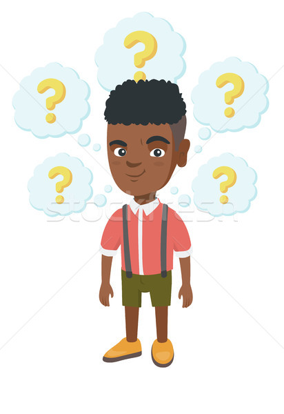 Thinking african-american boy with question marks. Stock photo © RAStudio