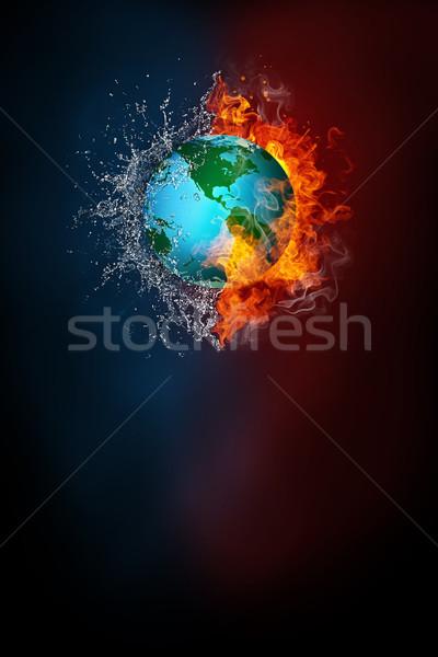 Dünya gezegeni modern poster şablon yüksek karar Stok fotoğraf © RAStudio