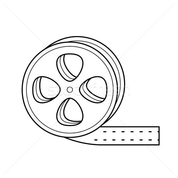 Film Reel линия икона вектора изолированный белый Сток-фото © RAStudio