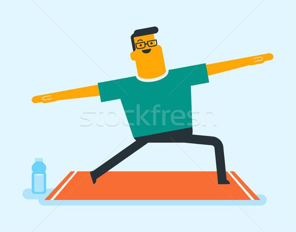 Caucasian white  man doing stretching exercise. Stock photo © RAStudio