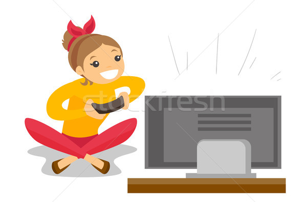 Woman playing video game vector illustration. Stock photo © RAStudio