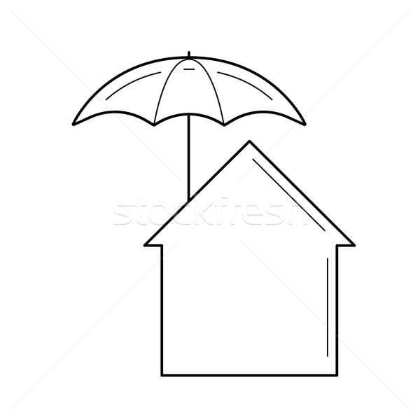 Stockfoto: Onroerend · verzekering · lijn · icon · vector · geïsoleerd