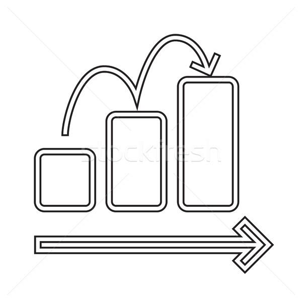 Creciente gráfico de barras vector línea icono aislado Foto stock © RAStudio