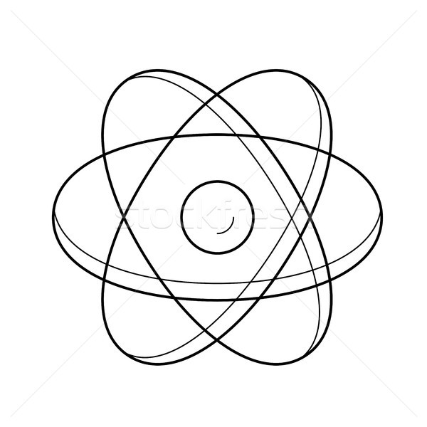 Atom structure vector line icon. Stock photo © RAStudio