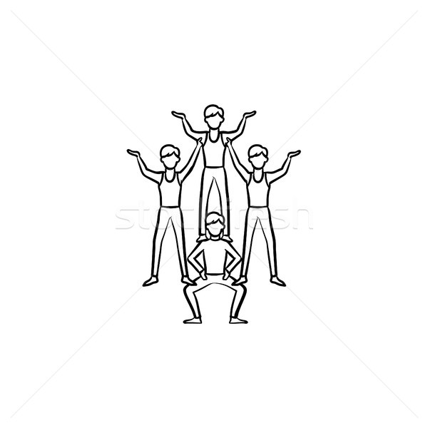 Circus artists making a pyramid hand drawn icon. Stock photo © RAStudio