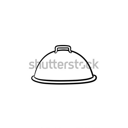 Cloche with platter for serve hand drawn icon. Stock photo © RAStudio