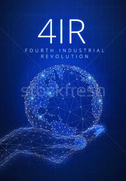 Cuarto industrial revolución futurista banner mundo Foto stock © RAStudio