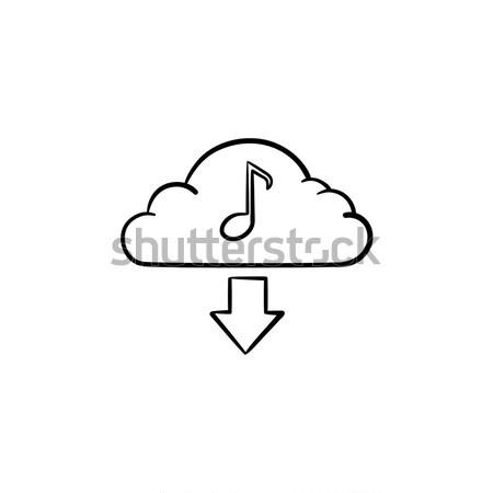 Stock photo: Cloud music concept hand drawn outline doodle icon.