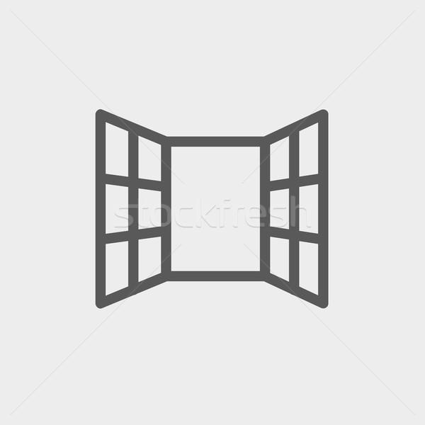 Open windows thin line icon Stock photo © RAStudio