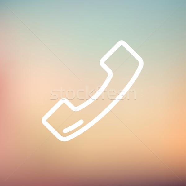 Telefonkagyló vékony vonal ikon háló mobil Stock fotó © RAStudio