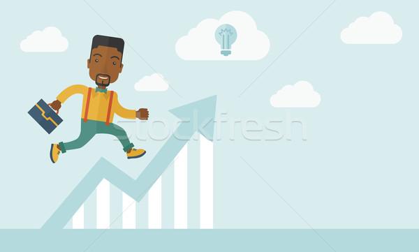 Fut férfi grafikon nyíl felfelé boldog Stock fotó © RAStudio