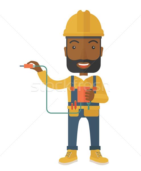 électricien pouvoir câble plug jeunes Photo stock © RAStudio