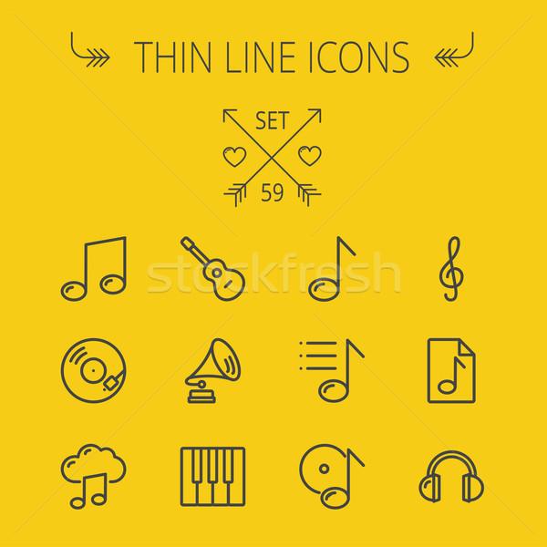 Music and entertainment thin line icon set Stock photo © RAStudio