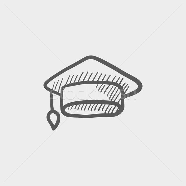 Foto stock: Graduación · CAP · boceto · icono · web · móviles