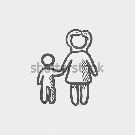 Weinig broers en zussen schets icon web mobiele Stockfoto © RAStudio