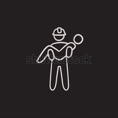 Munkás vigyázat felirat ikon rajzolt kréta Stock fotó © RAStudio