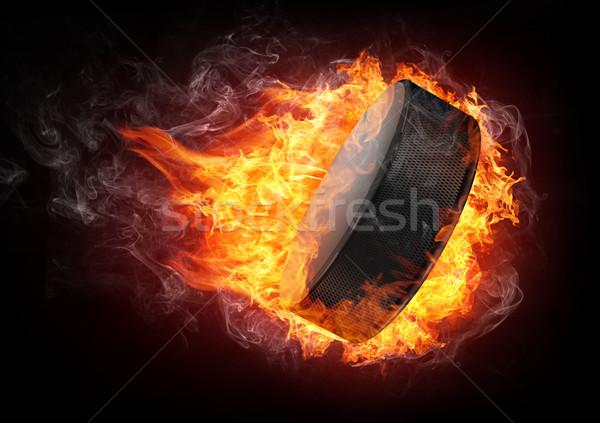 Hokej ognia odizolowany czarny sportu sportowe Zdjęcia stock © RAStudio