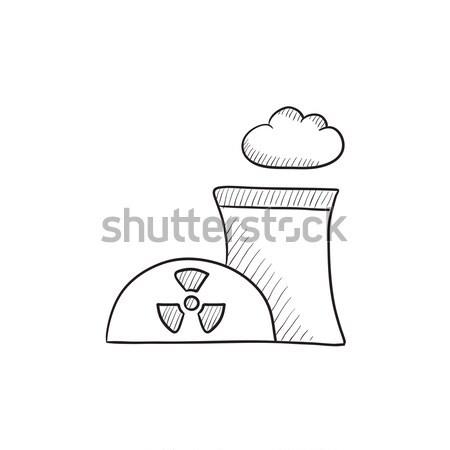 Nukleáris erőmű vonal ikon háló mobil Stock fotó © RAStudio