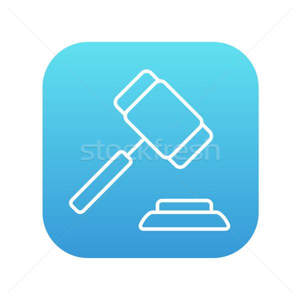 Veiling hamer lijn icon web mobiele Stockfoto © RAStudio
