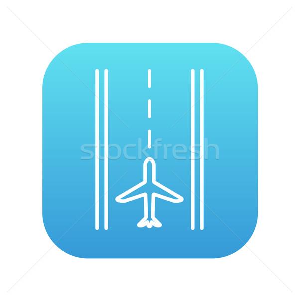 Luchthaven landingsbaan lijn icon web mobiele Stockfoto © RAStudio