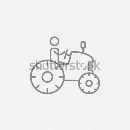 Adam sürücü traktör hat ikon web Stok fotoğraf © RAStudio