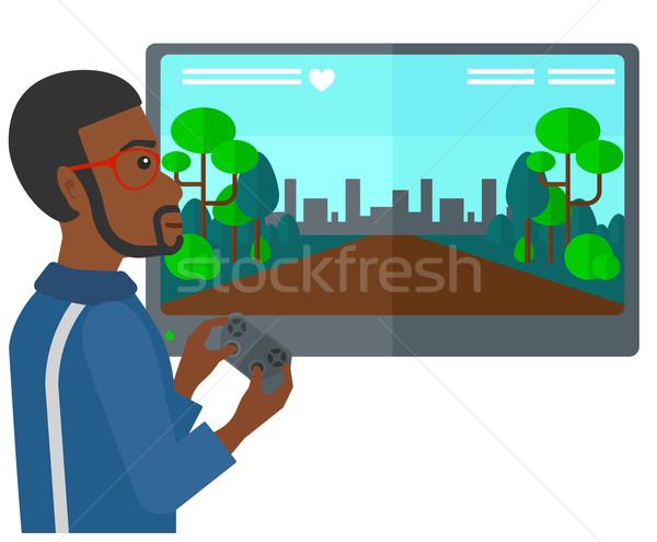 Photo stock: Homme · jouer · jeu · vidéo · gamepad · mains · vecteur