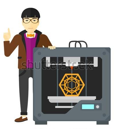 Człowiek trzy drukarki wskazując palec wskazujący w górę Zdjęcia stock © RAStudio