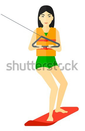 Stock photo: Professional wakeboard sportswoman.