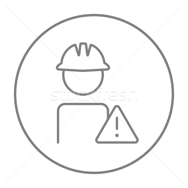 Worker with caution sign line icon. Stock photo © RAStudio