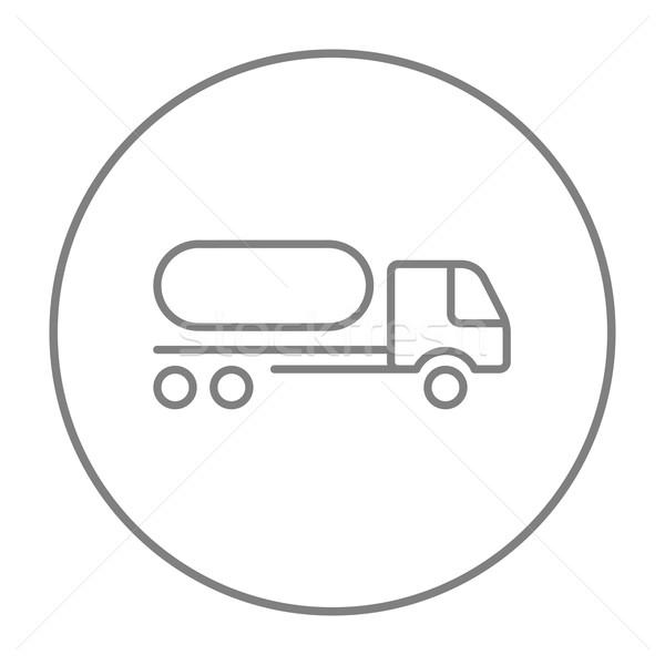 Combustible camión línea icono web móviles Foto stock © RAStudio