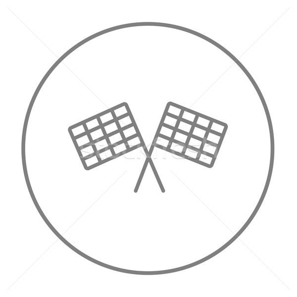 Stock photo: Two checkered flags line icon.