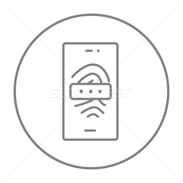 Mobile phone scanning fingerprint line icon. Stock photo © RAStudio
