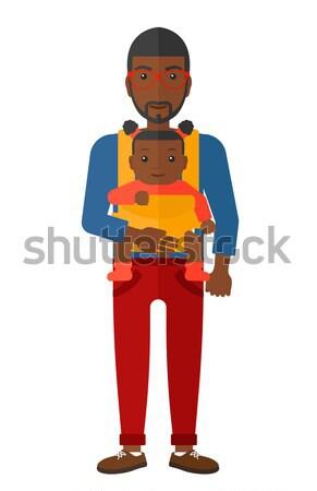 Férfi tart baba csúzli hordoz vektor Stock fotó © RAStudio