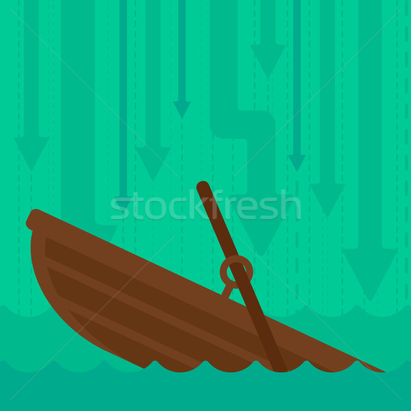 Background of sinking boat and arrows moving down. Stock photo © RAStudio