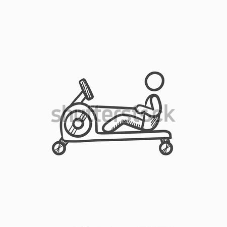 Férfi testmozgás tornaterem apparátus vonal ikon Stock fotó © RAStudio