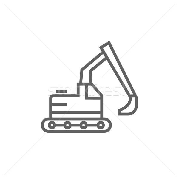 Excavadora línea icono esquinas web móviles Foto stock © RAStudio