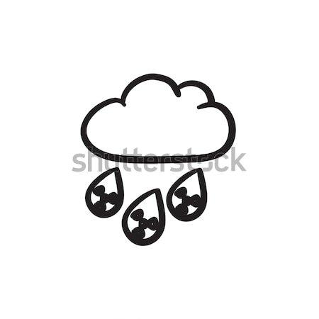 Radyoaktif bulut yağmur hat ikon köşeler Stok fotoğraf © RAStudio