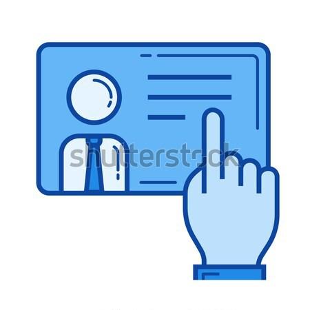 Mão empurrando tela sensível ao toque botão linha ícone Foto stock © RAStudio