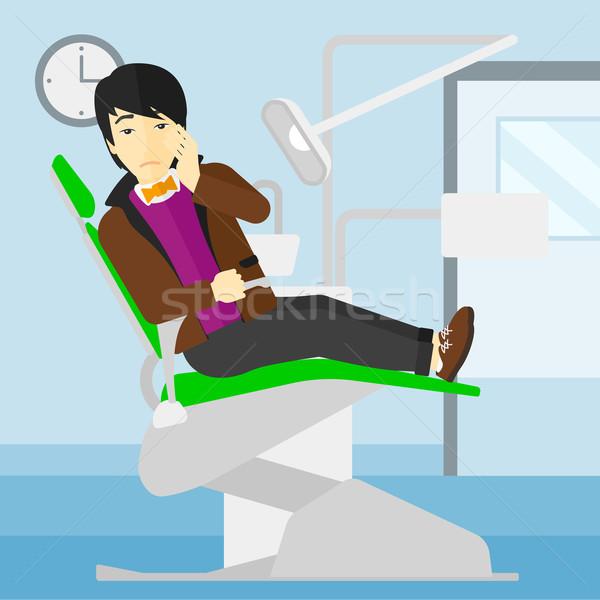 Stock fotó: Férfi · szenvedés · fogászati · szék · ázsiai · ül