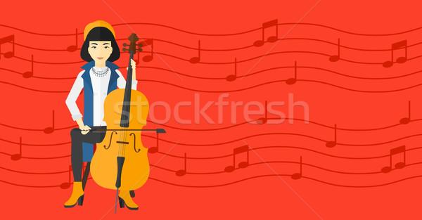 Foto stock: Mujer · jugando · cello · Asia · rojo · notas · musicales