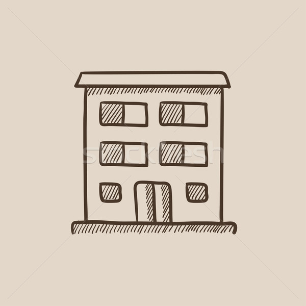 Stock photo: Residential building sketch icon.